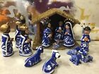 Creche Nativity Hand Painted Blue white With Wooden Manger Mexico 14 Figures Vtg