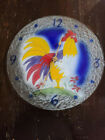 Quebec artist fused glass rooster plate clock new movement