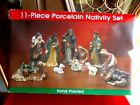 Nativity Set Porcelain great hand painted 11 piece Mary holding Baby Jesus detai