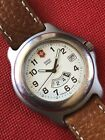 Swiss Army Officers 1884 Dual Time Watch Unique And Rare Mens Runs Perfect