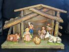 Vintage Christmas Nativity Set  Creche Wooden Manger Made in Italy