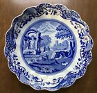 Spode England Blue Italian Design 10 Round Fluted Dish Bowl Scalloped Edge