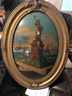 Vtg Antique 1917 Signed Reverse Painting Statue Of Liberty NY Convex Glass Oval