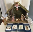 5 Fontanini Nativity Scene Wooden Stable + Holy Family Angel Sheep Matthew