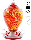 Hummingbird Feeder for Outdoors Patio Large 34 Ounces Colorful Hand Blown Glass