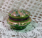 Victorian Trinket Dresser Box Hand Painted Floral Design Green Glass Hinged