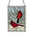 Stained Glass Window Panel Red Bird Cardinal Songbird Tiffany Style 12 x 30