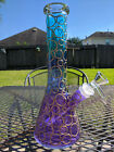 Stained Glass Beaker Water Pipe 10 inch Tall Small 144mm Blue Purple