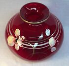 Fenton Art Glass Hand Painted  Floral Fantasy  On Rudy Red Round Vase