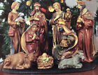 Kirklands 9pc Ceramic Christmas Nativity Set 6in with Wood Display Tray Preowned