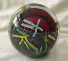 VINTAGE GLASS PAPERWEIGHT WITH RED BLOWN BUBBLE  COLOURED LINES