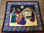 American Pacific Christmas Quilt Throw Holiday Blanket Stitched Nativity 49x54