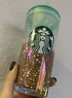Starbucks Holiday Iridescent Rainbow Snow Glass Cup 18oz Green Clear Tumbler