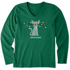 Life is Good Womens Long Sleeve Crusher Vee Lit Up Cat Spruce Green