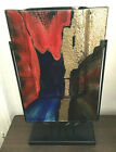 MODERN ABSTRACT FUSED GLASS ART SCULPTURE VASE DISPLAY APPROX 15T 48 NWT