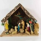 Vintage Nativity Scene Bark Wood with 13 Attached plastic Figures