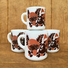 Hazel Atlas Milk Glass Mushroom Mugs Orange  Brown Hippie Look Design Vintage