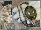 EXTASIA Signed Antique Style Olivine Glass Intaglio Relief Cameo Necklace Estate