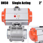 2 Pneumatic Air Actuated Stainless Ball Valve Single Acting Spring Return PTFE