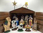 Hand Made Folk Art Hand Painted Wood Christmas Nativity Set Childrens Learning