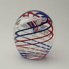 Large John Gentile Glass Paperweight Red White Blue Ribbon Swirl Control Bubbles