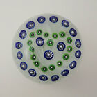 Large John Gentile Glass Paperweight Blue and Green Millefiori Heart Design