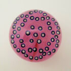 Large John Gentile Glass Paperweight Blue Millefiori Chain Design On Pink