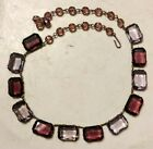 Art Deco Emerald Cut Lavender And Purple Czech Glass Stone Panel Necklace