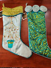 Trilogy Home Caribbean Christmas Stocking Pair 21 Jester Tree Sequins Beads