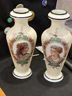 Pair Of Antique English Bristol Glass Portrait Vases Rare And Beautiful