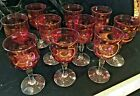 Vintage Cranberry Wine Cordial Stems Set of 10 with Clear Base