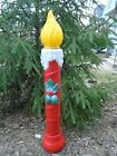 BLOW MOLD CHRISTMAS CANDLE RED W HOLLY BERRIES NO FADING