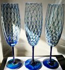 Randy Strong Stunning 3 Champagne Glass Flute Goblet Blue Feather Signed 84
