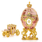 """Royal Imperial Pink Faberge Egg Replica: Extra Large 6.6"""" with Faberge carriage"""