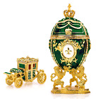 """Royal Imperial Green Faberge Egg Replica: Extra Large 6.6"""" with Faberge carriage"""