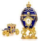 """Royal Imperial Blue Faberge Egg Replica: Extra Large 6.6"""" with Faberge carriage"""