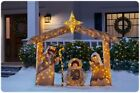 Christmas Pre Lit Nativity Scene Set Outdoor Yard Decoration White LED Lights