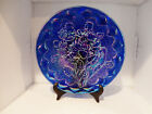 Fenton Carnival Glass Cobalt HOACGA Imperial Pansy Imperial Arc Plate 95th MINT