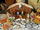 Christmas Nativity Set Cardboard Manger with 22 Chalk Figures