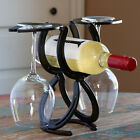 Horse Shoe Wine Bottle and Glass Holder Powder Coated Black