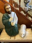 Shepherd with Sheep Lamb Blow Mold General Foam Nativity Christmas
