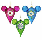 NEW Disney Parks Mickey Icon Pink Blue Green Glass Drop Ornament Set Of 3