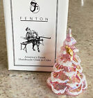 Fenton Art Glass Pink Iridescent Flocked Christmas Tree with Gold Bird  Label