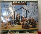 Kirkland Signature 75177 Nativity Set 13 Pieces With Wood Creche Base NEW IN BOX