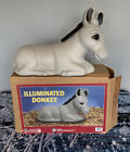 Vintage Lighted Grey Donkey Nativity Plastic Blow Mold General Foam with Box