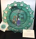 Fenton Art Glass Hand Panted  The Journey  On Spruce Green Plate Christmas