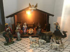 1970 Vintage 18 Piece Lighted Nativity Made in Japan with Wooden Stable