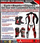 MOTORCYCLE RACING SUIT MOTORBIKE LEATHER RIDING SPORTS Suit Boots Gloves CUSTOM