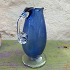 Michael Shearer Handmade Studio Art Glass Vase Pitcher Clear Blue Signed 1982
