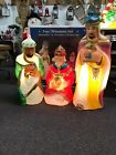 VINTAGE General Foam Wise men Nativity Lot of 3 Christmas Blow Mold with box